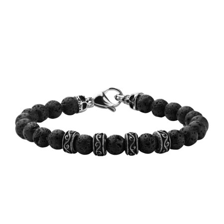 - Mens Stainless Steel Skull and 8mm Black Lava Beads Bracelet 8 1/2 inch long
