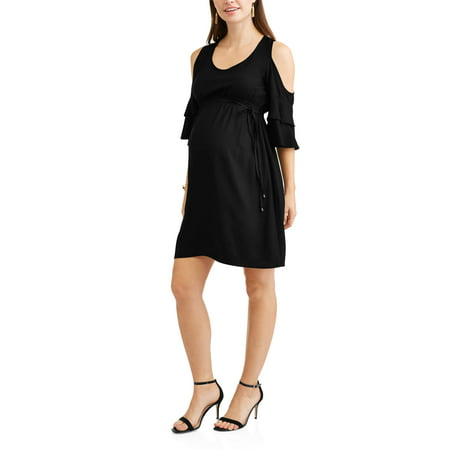 (Maternity Scoop neck Cold Shoulder Dress-- Available In Plus Size)