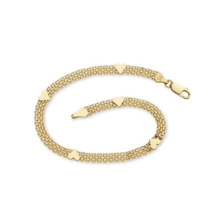 10k Yellow Gold Bismark-Link Heart Bracelet 7.25