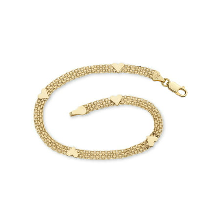 10k Gold Heart Link Bracelet - 10k Yellow Gold Bismark-Link Heart Bracelet 7.25