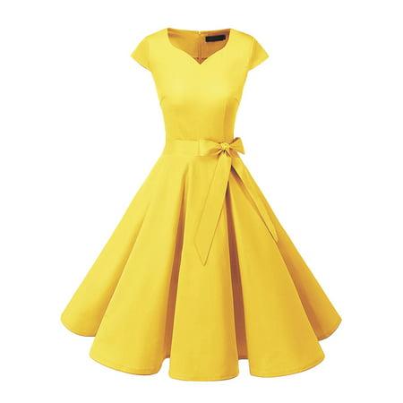 Women's Audrey Hepburn 50s Vintage Dress Cap Sleeve Rockabilly Swing Dress With - Teal 50s Dress