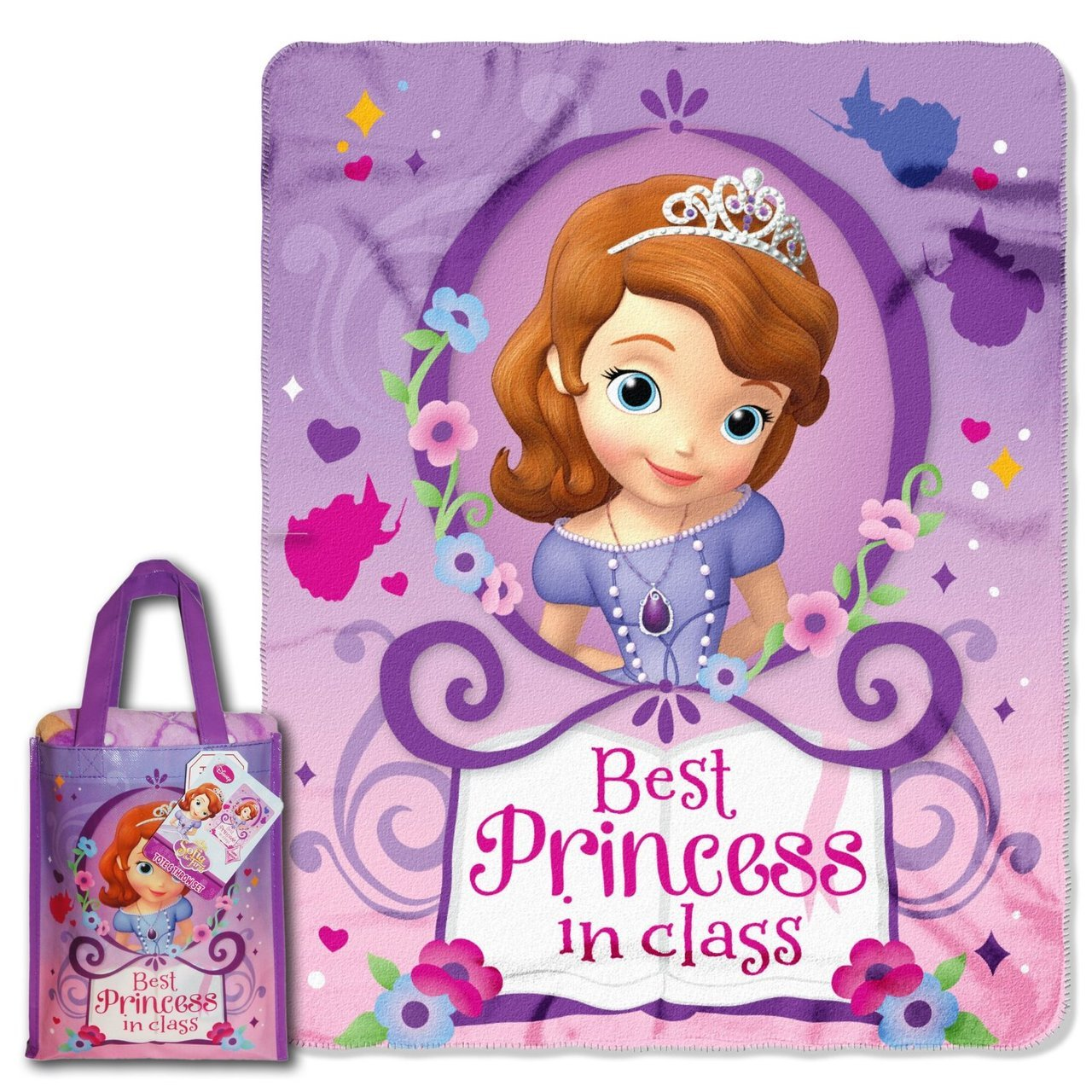 "Disney ""Sofia The First, Princess Class"" Micro Raschel Throw and Reusable Tote Set, 40 by 50-Inch"