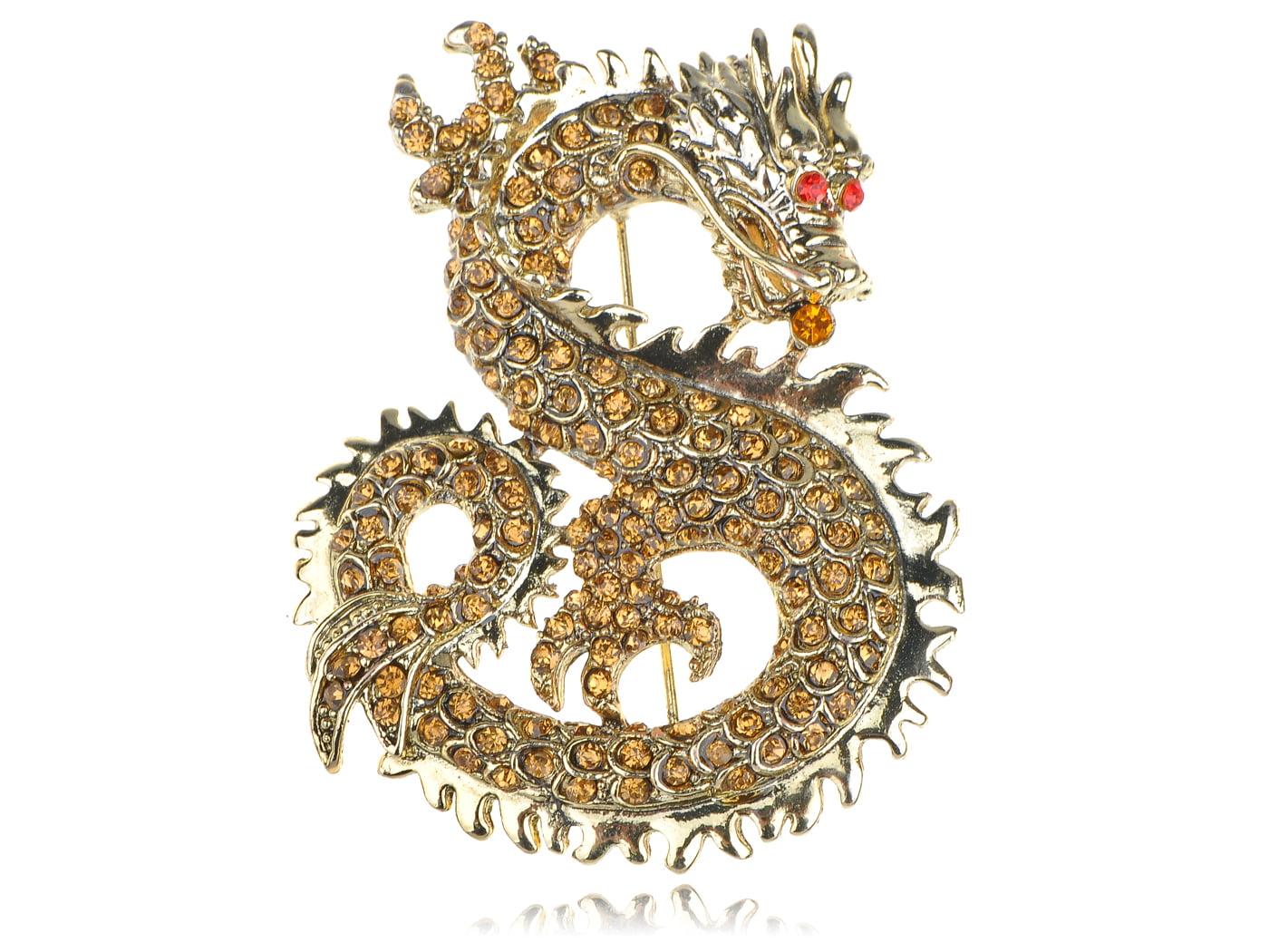 Golden Tone Textured Topaz Ruby Eyed Rhinestone Chinese Zodiac Dragon Pin Brooch by