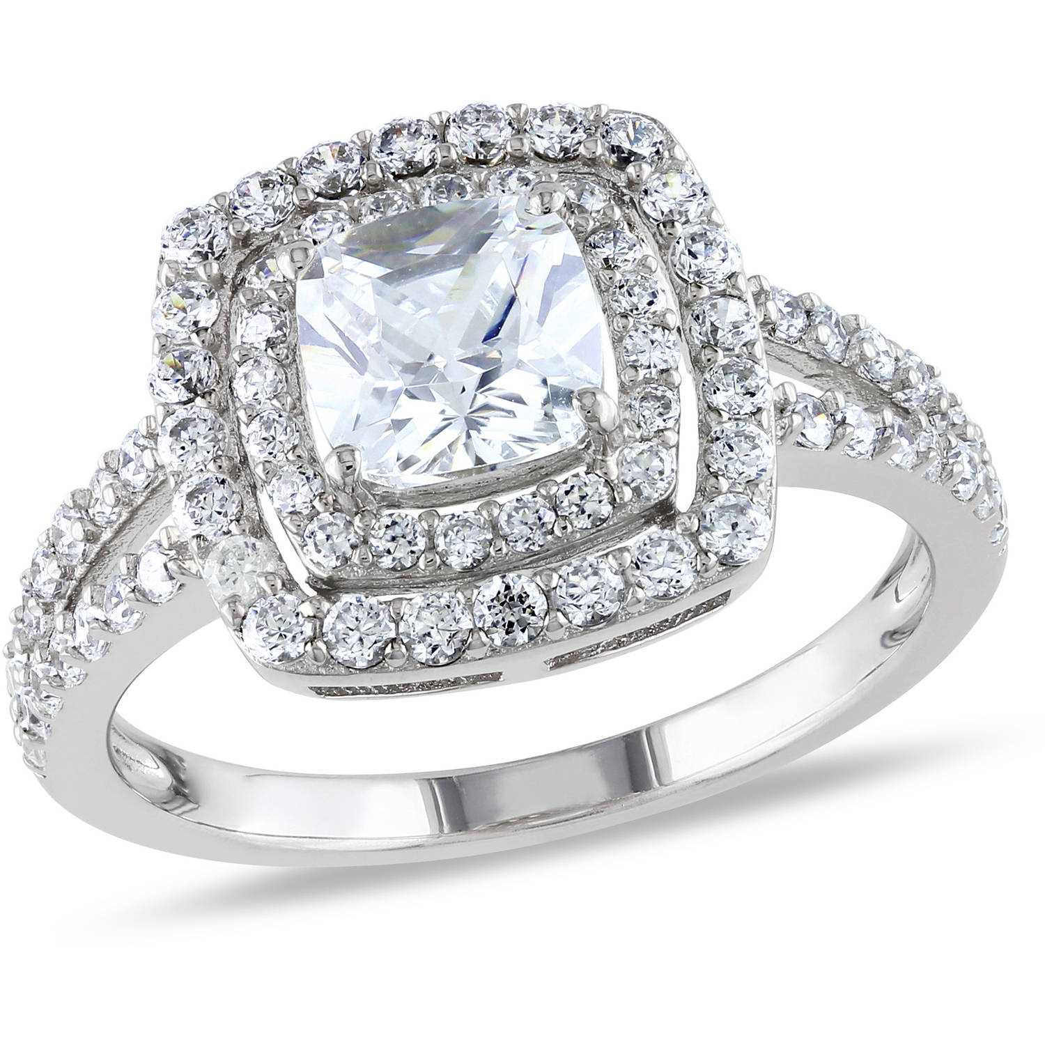 Miabella 3 Carat T.G.W. Cushion and Round-Cut Cubic Zirconia Sterling Silver Double-Halo Engagement Ring