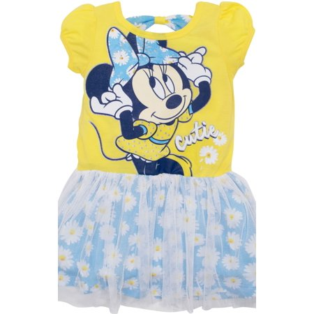 Disney Toddler Girls' Minnie Mouse Tulle Dress, Yellow and Blue with White Daisies (3T) - Minnie Mouse First Birthday Dress