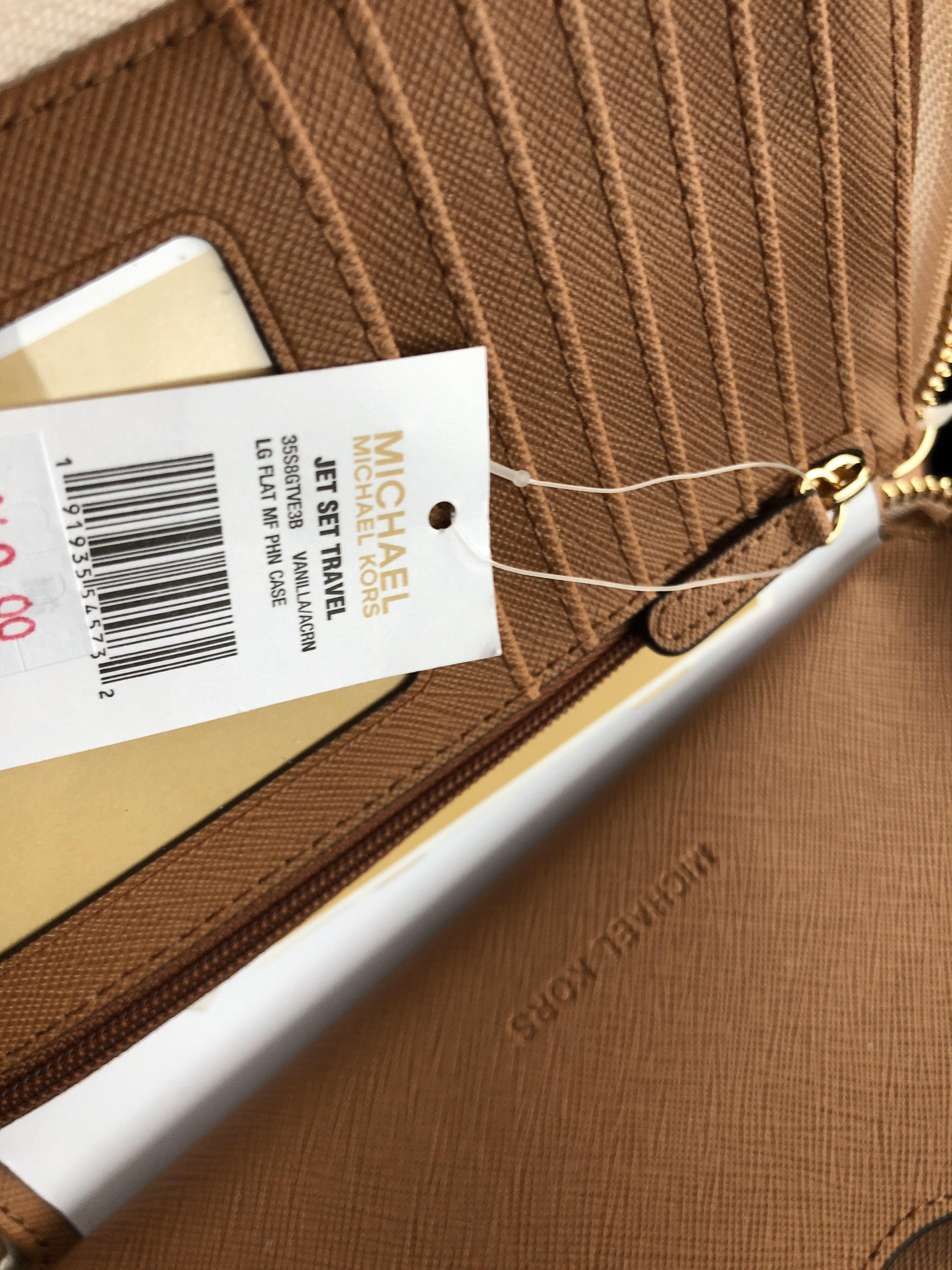 22f3b3e8fd6390 Michael Kors - Michael Kors Jet Set Phone Wristlet Wallet Vanilla MK Acorn  - Walmart.com