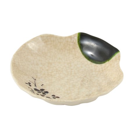 Unique Bargains Kitchen Shell Design Sushi Soy Sauce Wasabi Mustard Dipping Dish Plate Beige Beige Round Serving Plate
