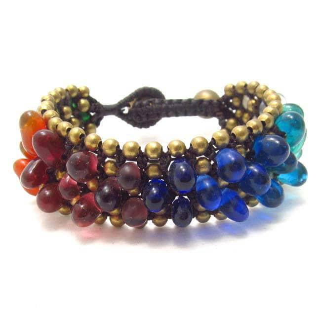 Aeravida Handmade Rainbow Bubbles Glass Embedded Cotton Rope Bracelet (Thailand)