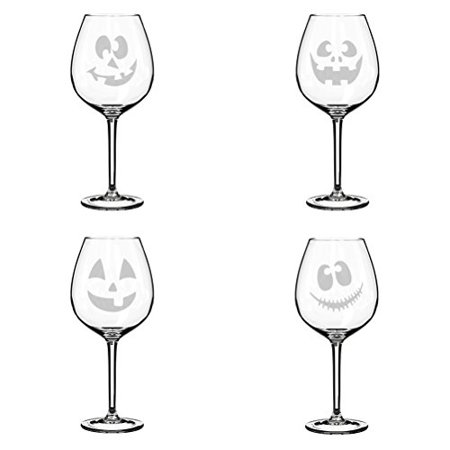 Set of 4 Wine Glass Goblet Jack O' Lanterns Halloween Collection (20 oz - Halloween Glass Lanterns