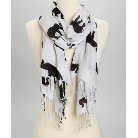 (Amtal Women Black & White Elephant Print Soft Casual Oblong Scarf w/Tassels)