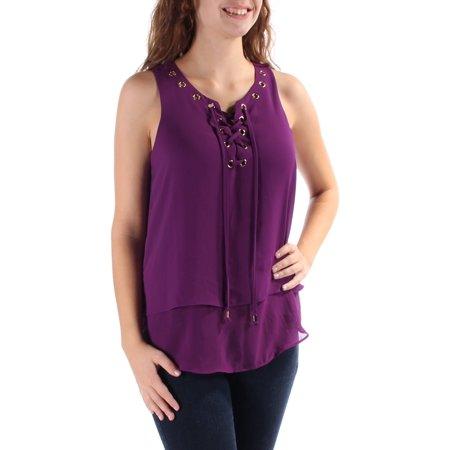 INC Womens Purple Tie Eyelet Sleeveless V Neck Top  Size: 2