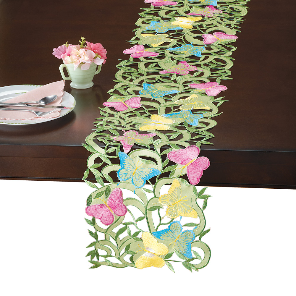 Butterfly Garden Floral Tablecloths, Table Linens with Diecut Embroidery, Runner by Collections Etc