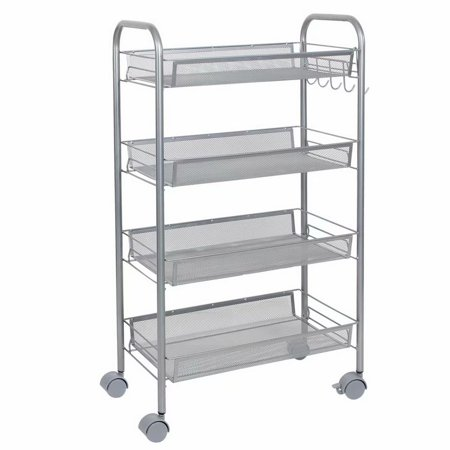 Space-Saving Honeycomb Mesh Style Removable Storage Cart Silver, Standing Shelf Rack Units with Wheels for Kitchen/Bathroom/Office (4-Shelf)