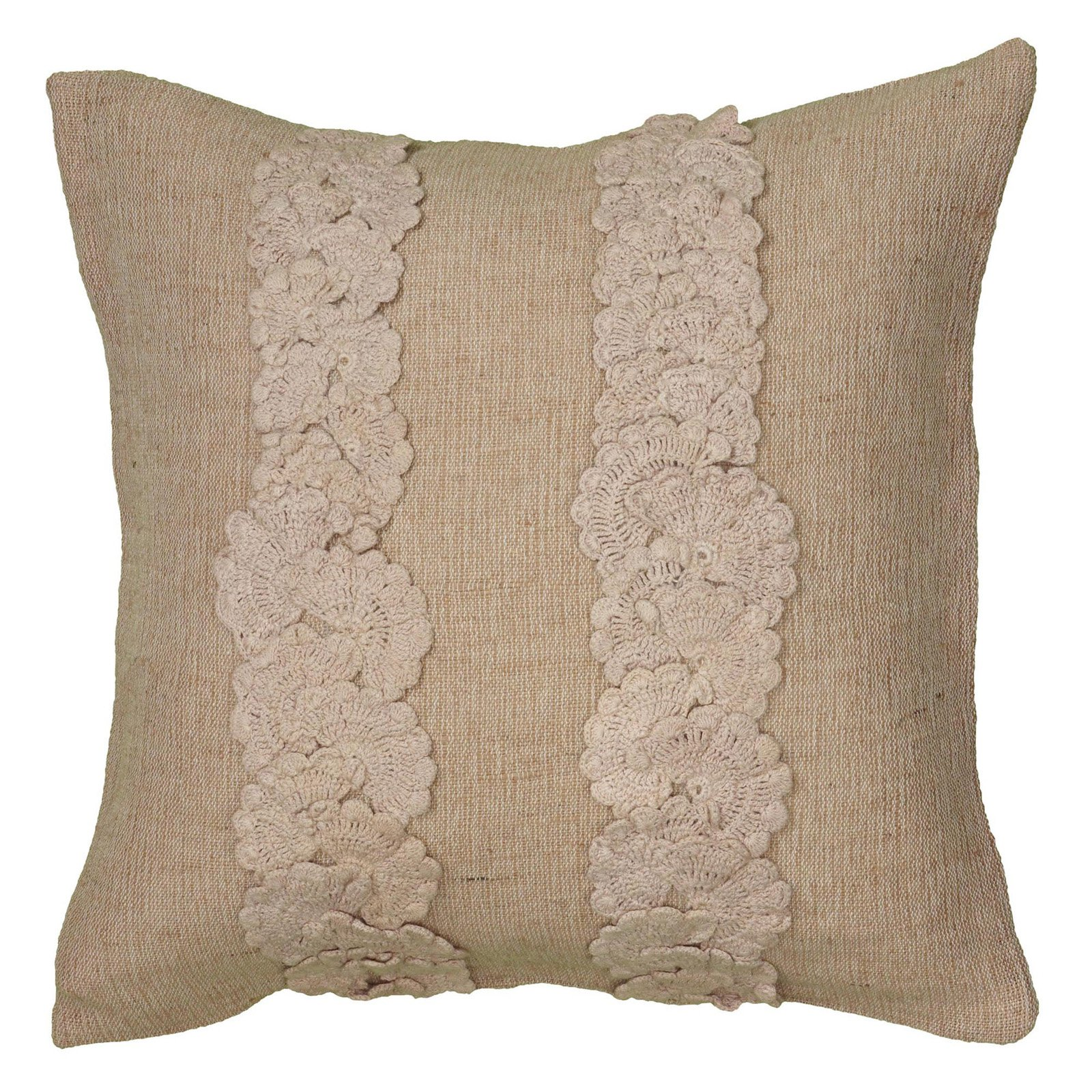 """Rizzy Home Decorative Poly Filled Throw Pillow Textured Stripes 18""""X18"""" Natural"""
