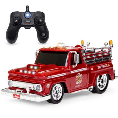 Fire Engine Truck - Best Choice Products 1/14 Scale 2.4GHz Remote Control Fire Engine Truck w/ Flashing Lights, Sound Effects, Non-Slip Rubber Tires, Rechargeable Batteries, USB Cable - Red/Black