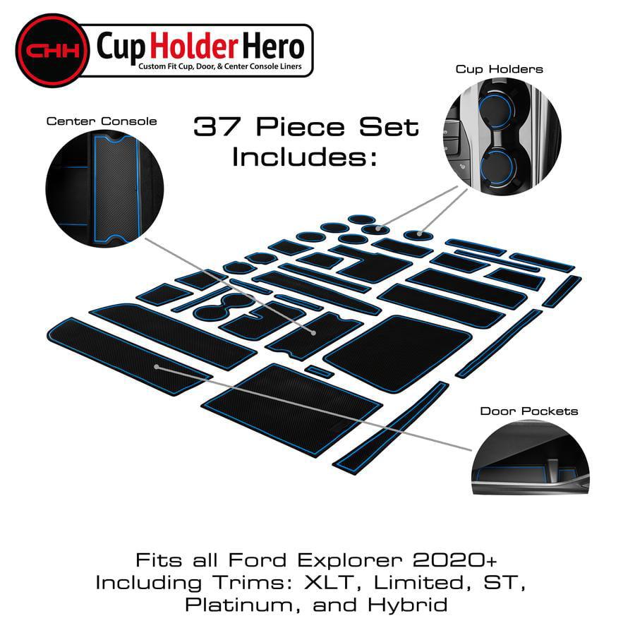 Door Pocket Liners 31-pc Set CupHolderHero for Ford Explorer Accessories 2016-2019 Premium Custom Interior Non-Slip Anti Dust Cup Holder Inserts Solid Black Center Console Liner Mats