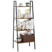 4-Tier Wood Bookshelf Organizer with Resistant Black Iron Frame and Sturdy Multifunctional Antique Wood Design Shelving Unit Perfect for Holding Books, Plants, Ornaments, and Other Items