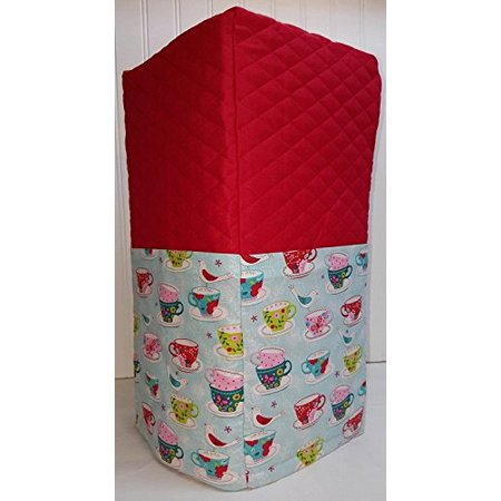- Quilted Birds & Teacups Coffee Maker Cover (Red)