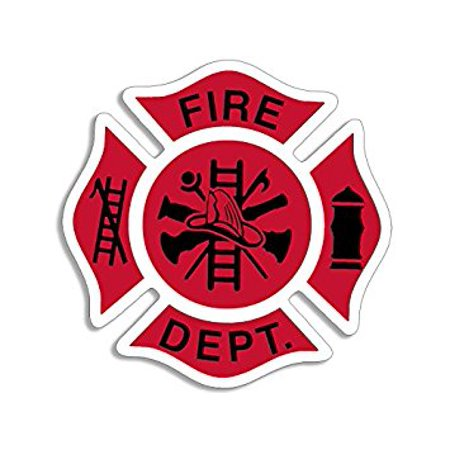 Red White & Black Fire Dept Maltese Cross Shaped Sticker Decal (firefighter fireman) Size: 4 x 4 inch
