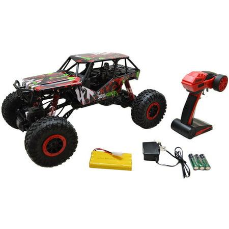 1/10 Scale 2.4Ghz 4 Wheel Drive Rock Crawler Radio Remote Control RC Car Toy - Red Toy Car
