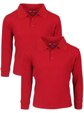 Beverly Hills Polo Club Boys School Uniform 2 Pack Long Sleeve Pique Polo (Little Boys & Big Boys)