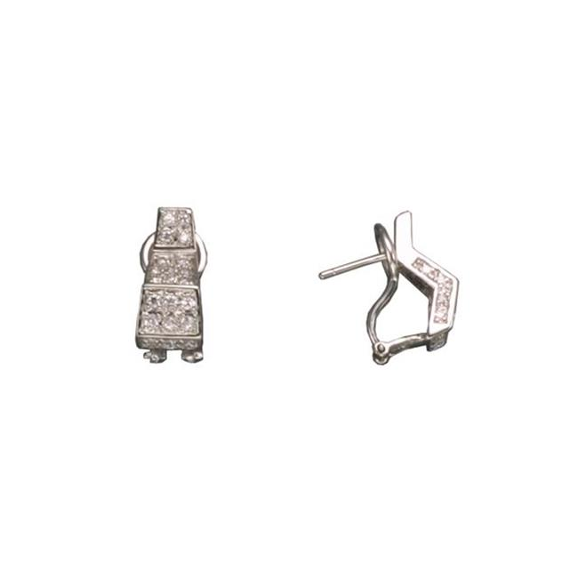 CZ EAR806 C. Z.  PAVE CLIP RHODIUM PLATED - . 925 - STERLING SILVER EARRINGS
