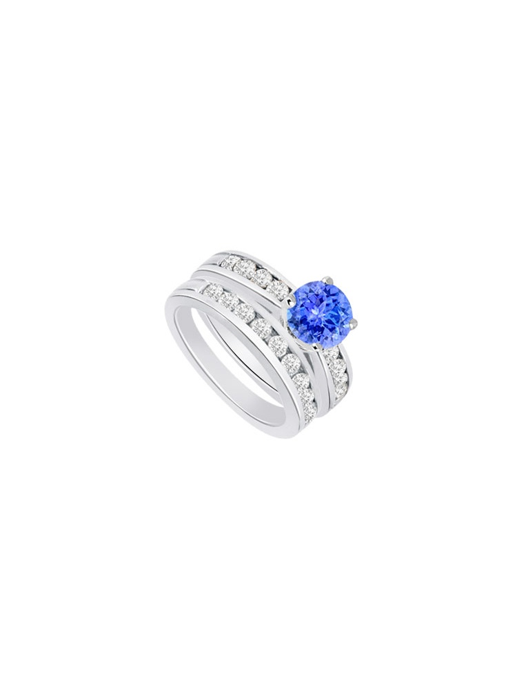 Created Tanzanite Cubic Zirconia Engagement Ring with Wedding Band Sets 14K White Gold 1.25 CT by Love Bright
