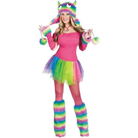 Rockin' Rainbow Monster Adult Halloween (Rockin' Witch Adult Costumes)