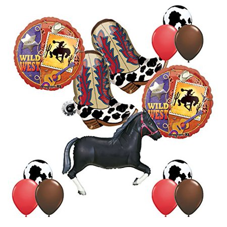 Wild West Western Party Supplies Cowboy Boots and Black Horse Balloons Bouquet - Western Decorations