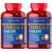 Puritan's Pride One Per Day Omega-3 Fish Oil 1360 mg (950 mg Active Omega-3) 90 Softgels (2 PACK)