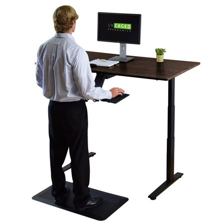 """- RISE UP Dual Motor 48x30"""" Bamboo Electric Standing Desk durable small commercial grade adjustable height ergonomic powered sit to stand up lift desk with memory"""