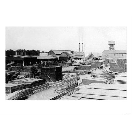 Silverton, Oregon Saw Mill View Photograph - Silverton, OR Print Wall Art  By Lantern Press
