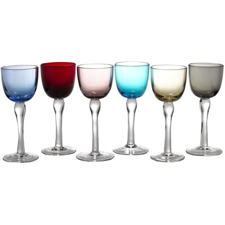 Circleware Splendor Multi-Colored Cordial Glasses with Clear Stems, 6-Piece, 2 Ounce