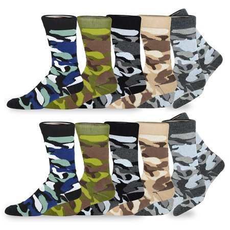 TeeHee Men's Fun and Fashion Camouflage Cotton Crew Socks 10-Pack