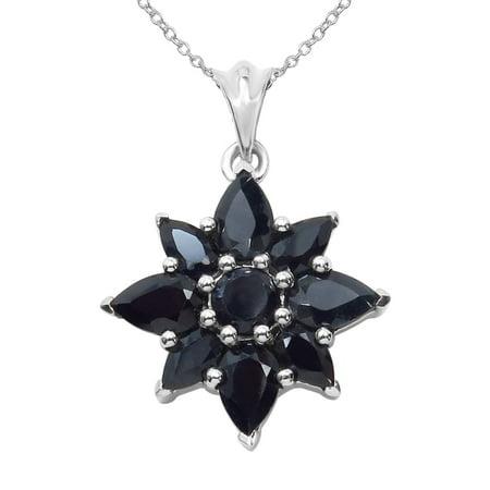 Precious Jewelry USA Sterling Silver 3ct TGW Blue Sapphire Pendant