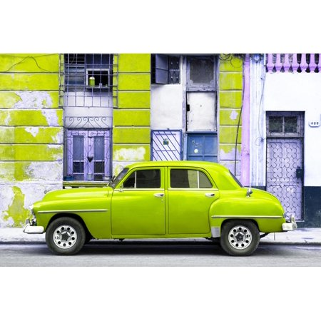 Cuba Fuerte Collection - Lime Green Classic American Car Print Wall Art By Philippe (American Classic Lime Green)