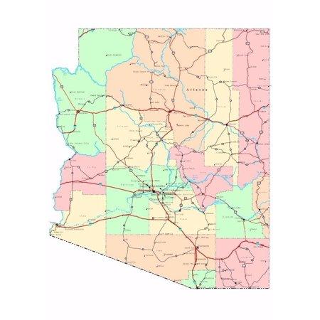 Laminated Poster Arizona Roap Map Phoenix City County State Az Poster Print 24 x 36 - Party City Phoenix Az