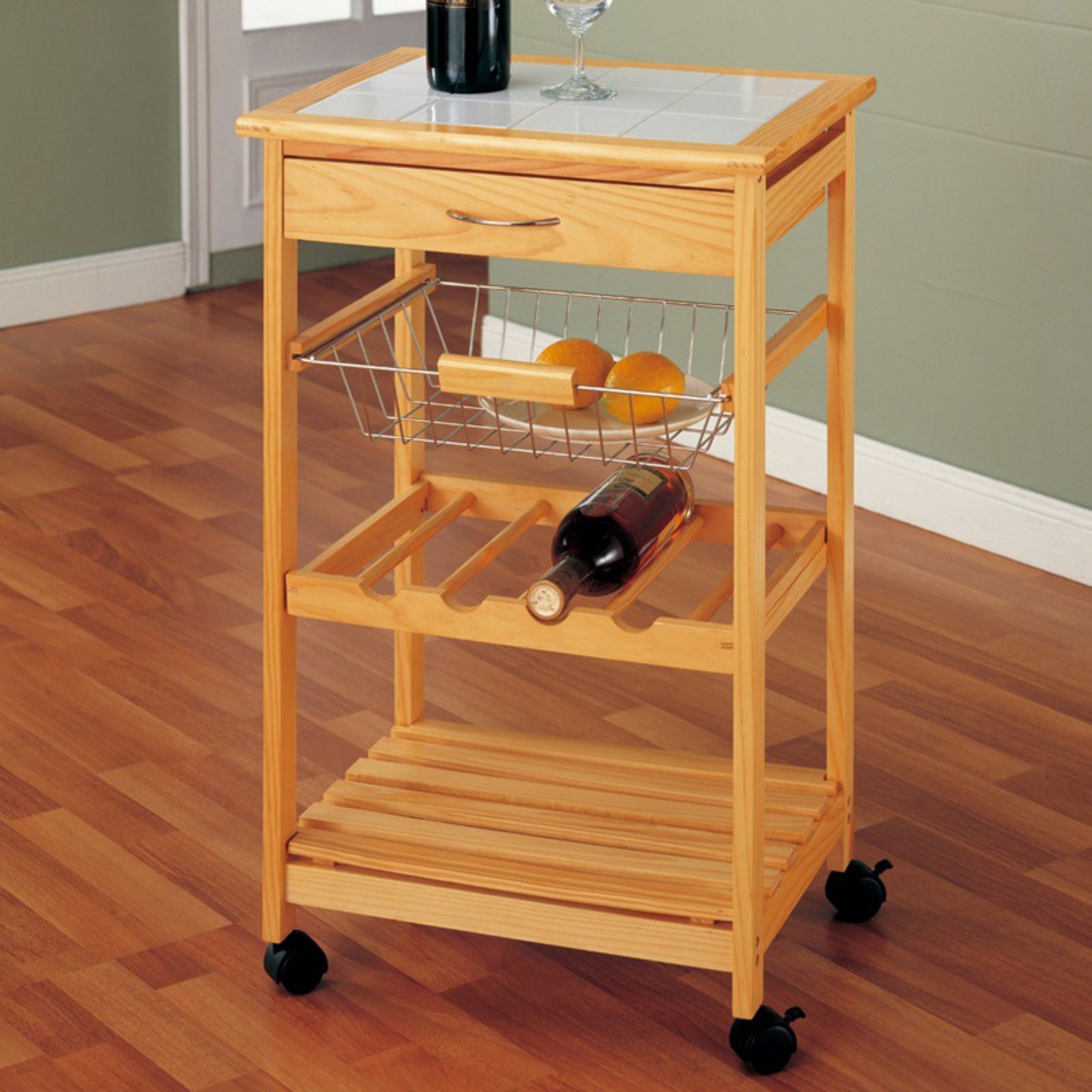 Neu Home Kitchen Cart with Basket, Pine by Organize It All