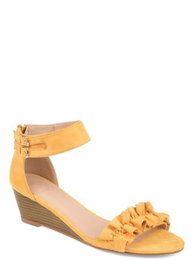 Womens Ruffle Ankle-strap Wedge