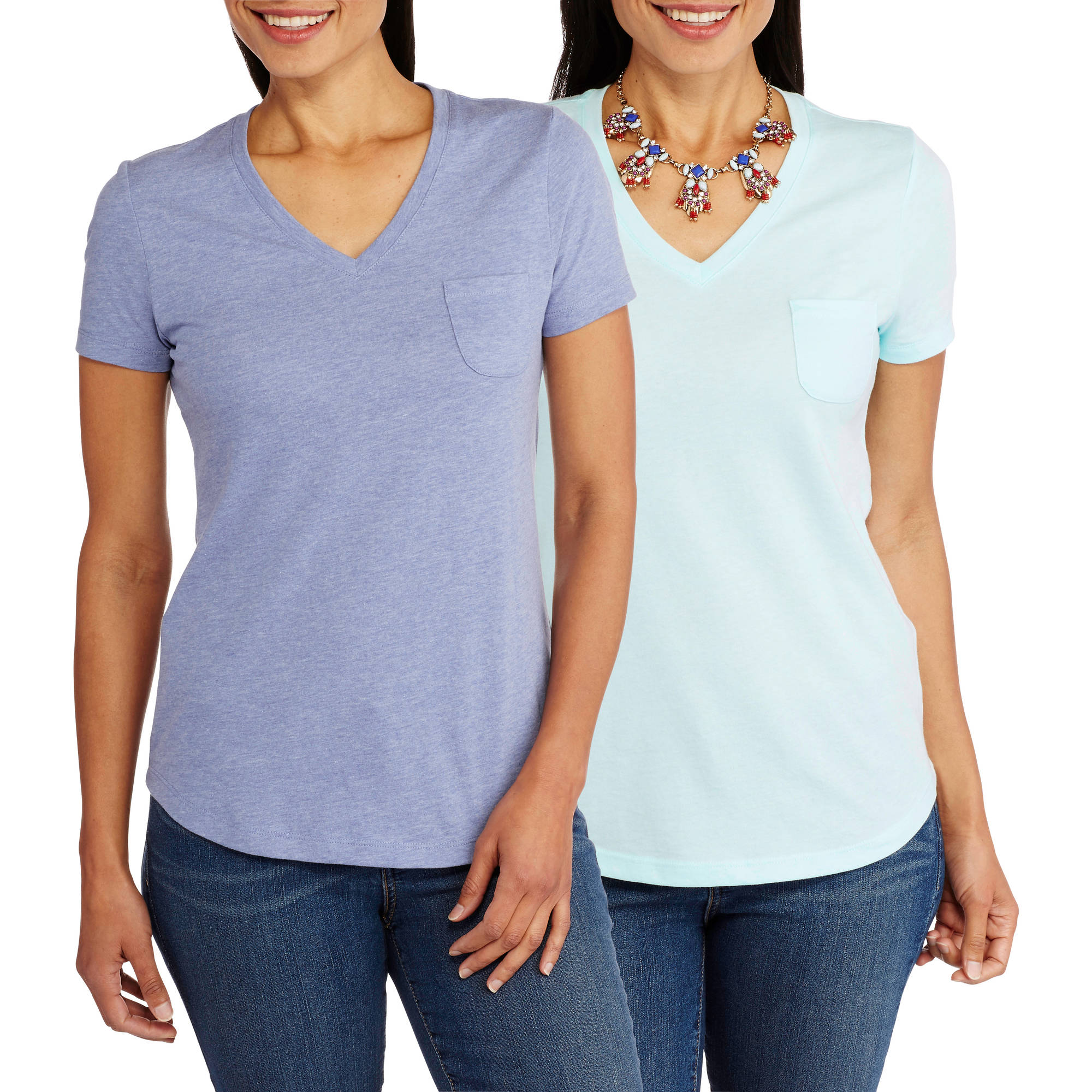 Faded Glory Women's Essential Short Sleeve V-Neck Pocket T-Shirt, 2 Pack Value Bundle