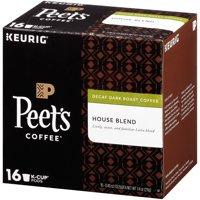 Peet's Coffee Decaffeinated House Blend K-Cup Coffee Pods, Dark Roast, 16 Count