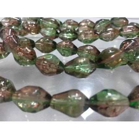 - 60 Beads - 12mm Two Tone Green Brown Bicone Round Glass Crackle Beads BD0290