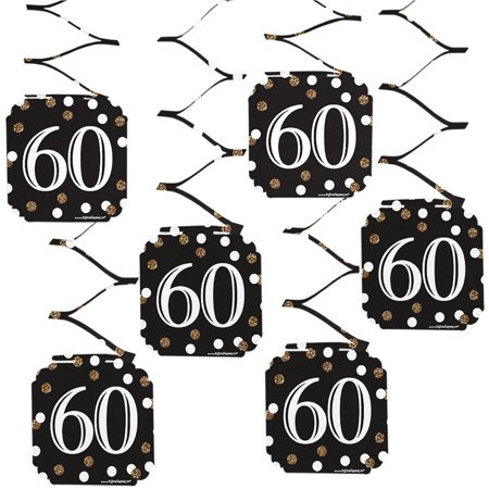 Adult 60th Birthday - Gold - Birthday Party Hanging Decorations - 6 Count