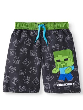 Minecraft Big Boys' Green Creeper Board Short Swim Trunk Swimwear - Black/Green