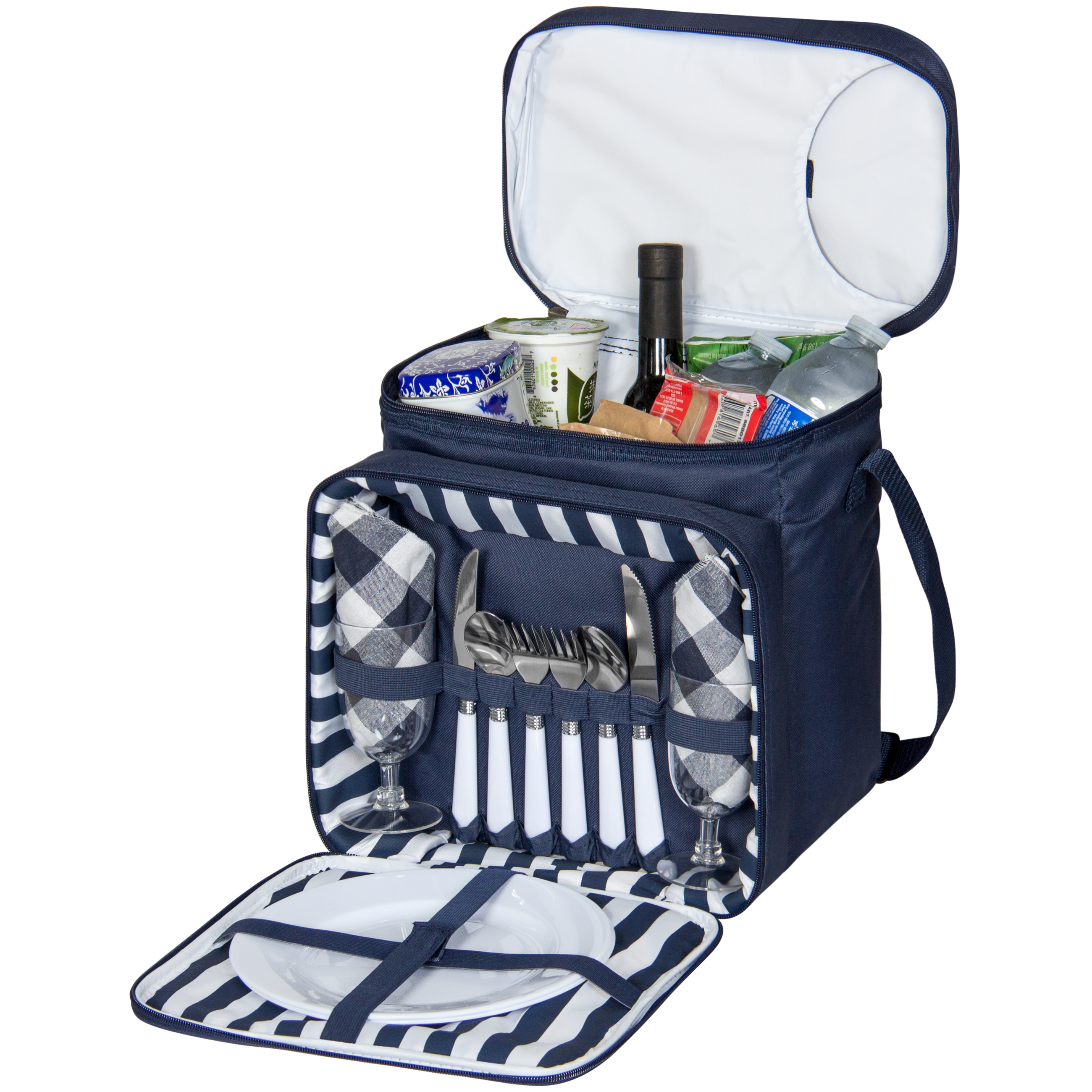 Best Choice Products 2-Person Picnic Bag Lunch Tote w/ Insulated Cooler Compartment, Easy-Access Opening, Flatware, Plates, Silverware, Cups - Blue