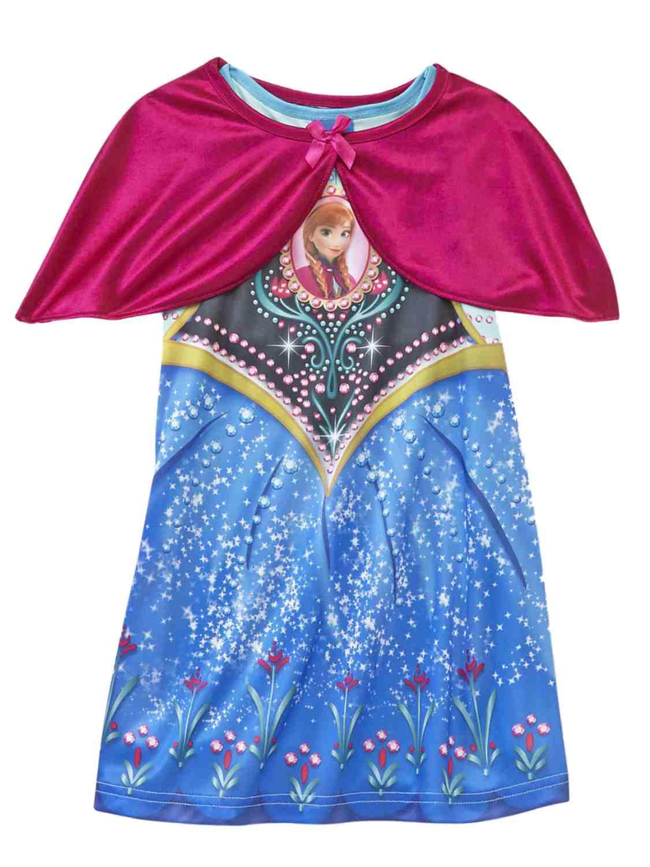 Toddler Girls Frozen Anna Blue Silky Nightgown Cape Night Gown Nightie