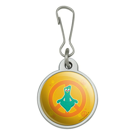 Meditating Gumby with Peace Sign Jacket Handbag Purse Luggage Backpack Zipper Pull Charm