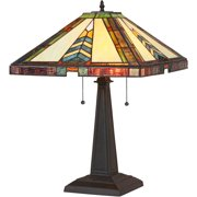 """Chloe Lighting Jagger Tiffany-Style 2-Light Mission Table Lamp with 16"""" Shade"""