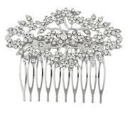 Lux Accessories Silvertone and Rhinestone Bridal Bride Flower Vines Hair Comb