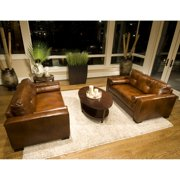 Soho 2-Piece Set Top Grain Leather Oversized Accent Chairs in Rustic
